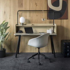 Allermuir at home arc rectangular desk with gantry screen & shelf