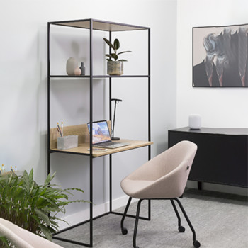 Allermuir at home crate compact desk with upstand & shelving