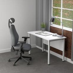 White compact office desk