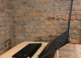 Laptop stand, wireless keyboard and mouse
